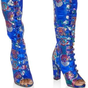 09cc449fc906f3 Shoes - Blue Elastic Band Printed High Heel Boots